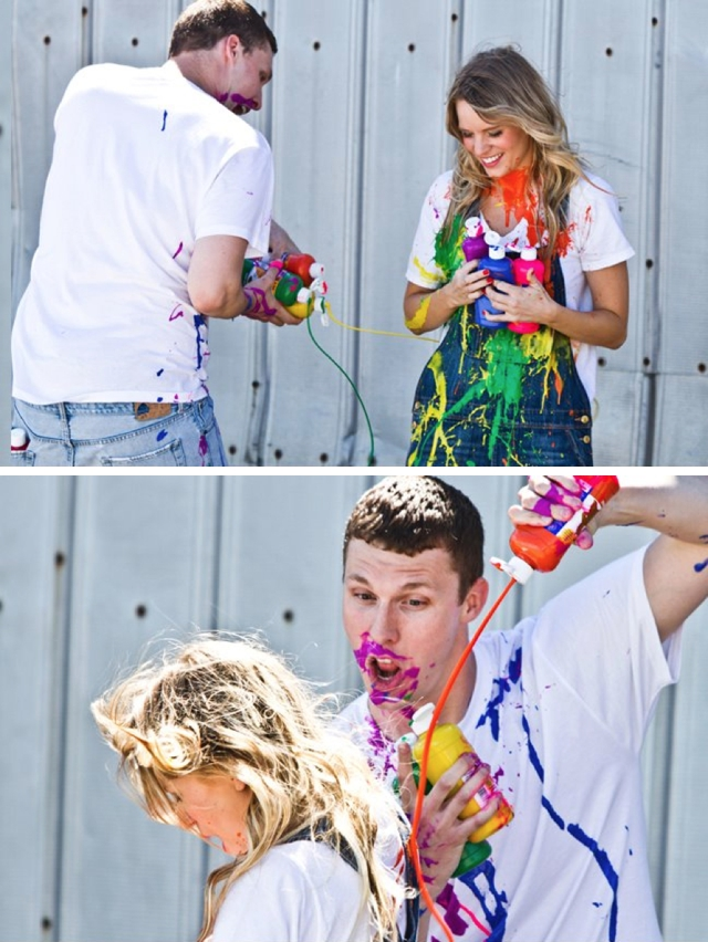A paint war engagement by Yvonne Denault Photography || see more on blog.nearlynewlywed.com